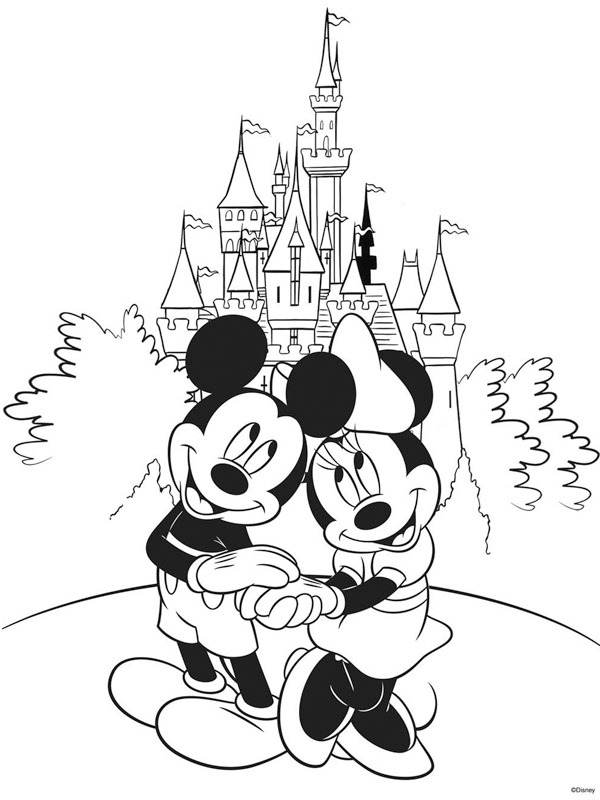coloring page Minnie and Mickey at Disneyland