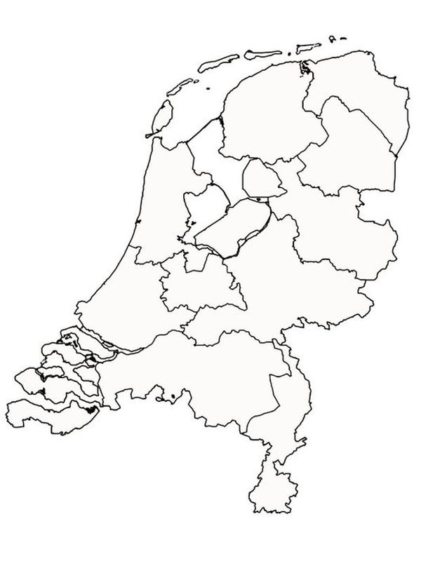 coloring page Map of the Netherlands
