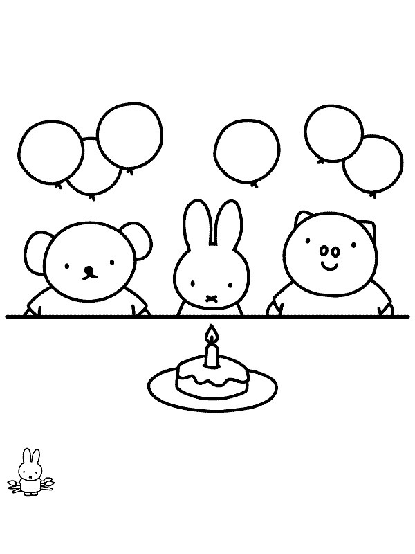 coloring page Miffy's birthday