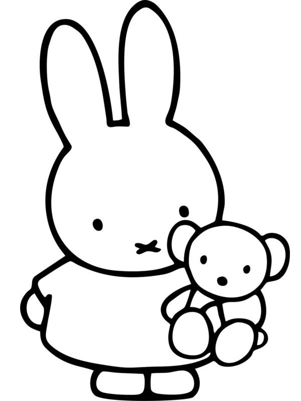 coloring page Miffy with a bear