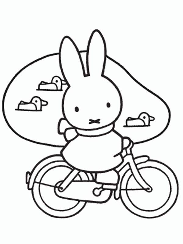 coloring page Miffy on a bycicle