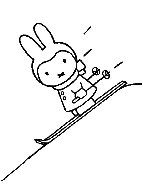 coloring page Miffy on winter sport