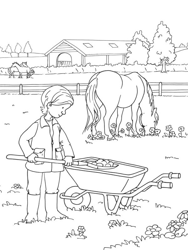 coloring page Horse at the farm