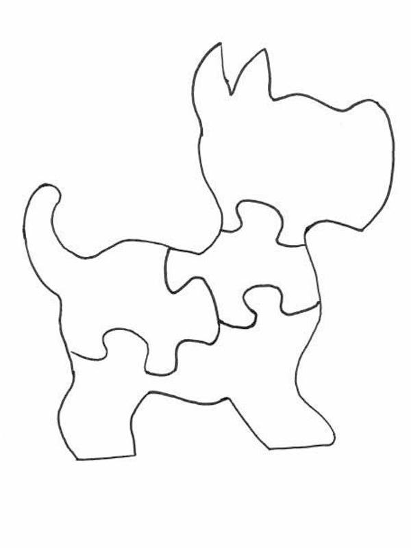 coloring page Dog puzzle