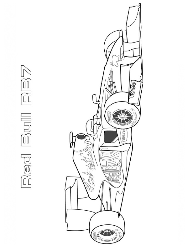 coloring page Formula 1 Red Bull racing