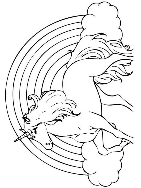 coloring page rainbow unicorn