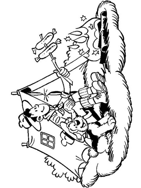 coloring page Samson and Gert camping