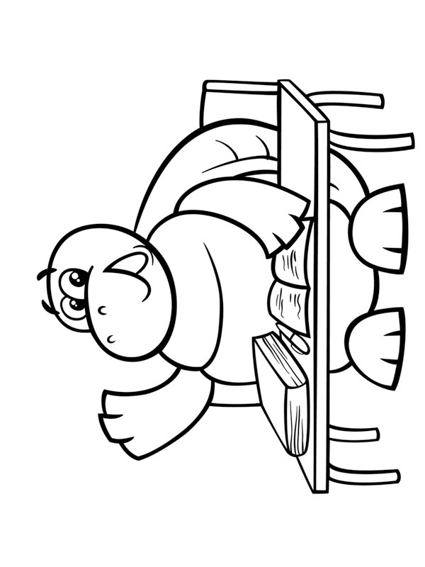 coloring page turtle at school