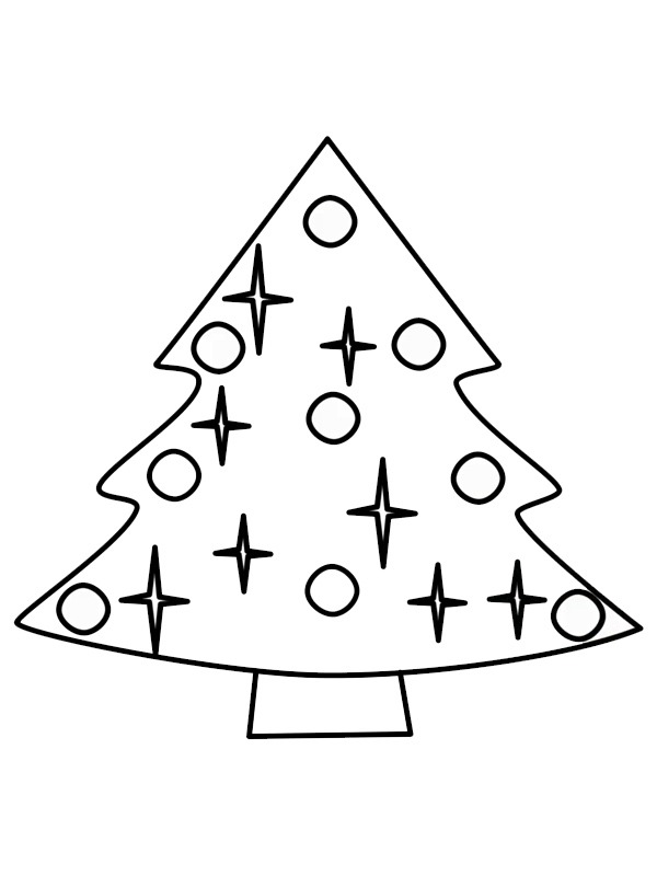 coloring page Easy christmas tree