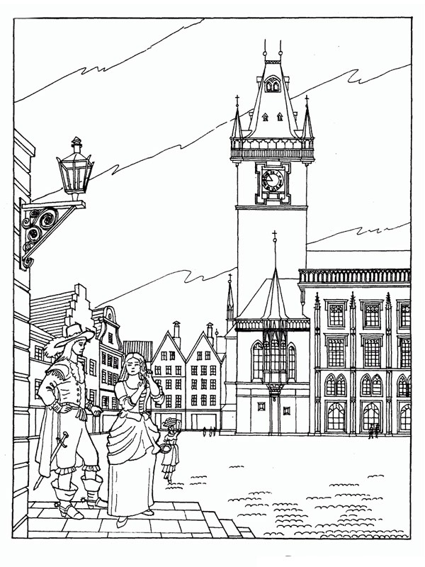 coloring page Old Town Hall Prague