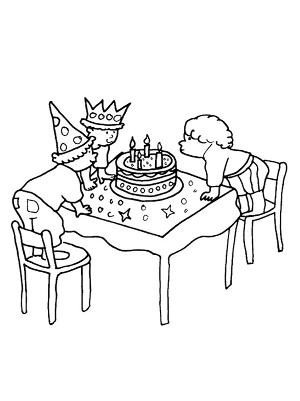 coloring page blow out candles