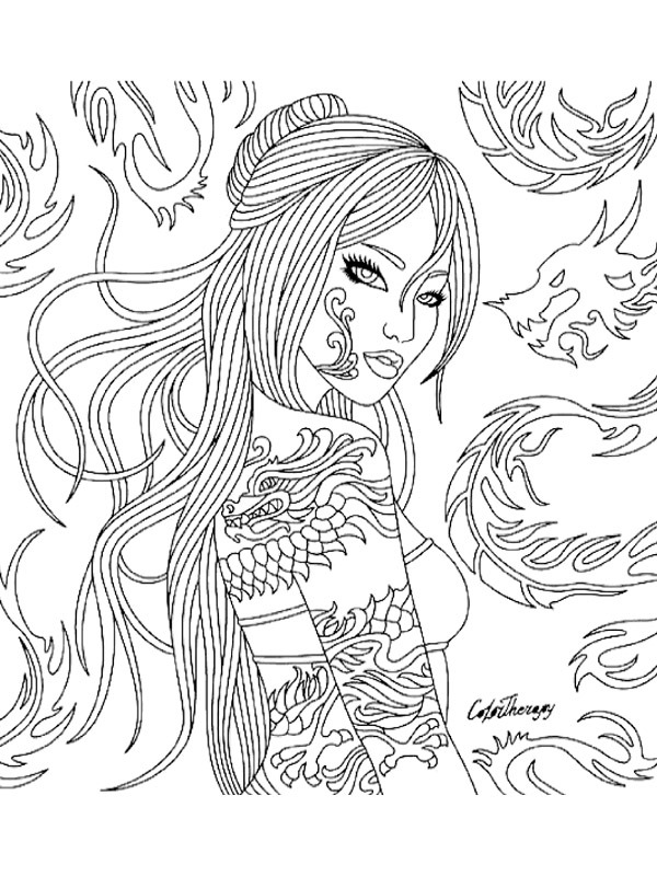coloring page Girl with tattoo's
