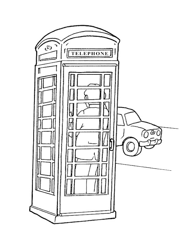 coloring page phonecell