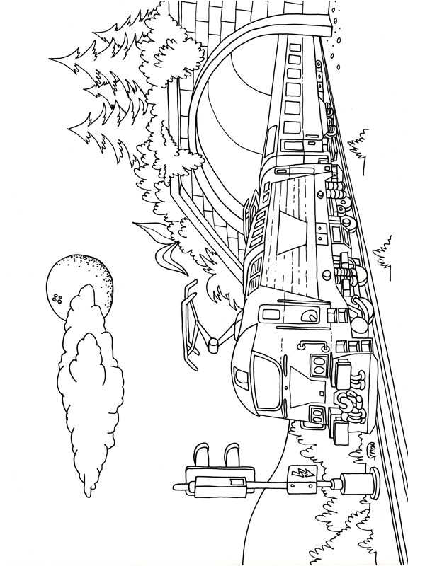 coloring page Train coming out of a tunnel