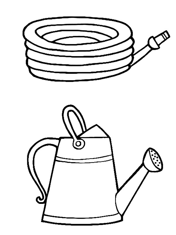 coloring page Garden Hose and Watering Can