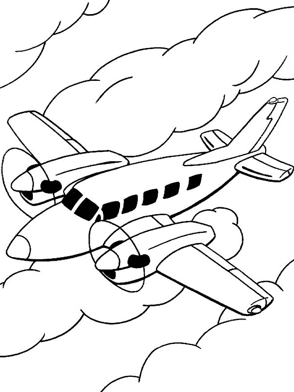 coloring page Airplane in the clouds