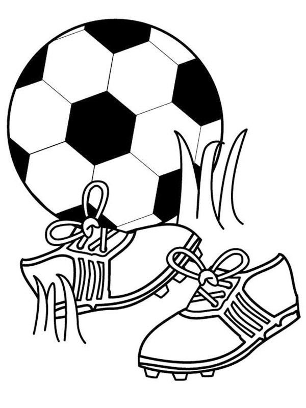 coloring page ball and soccer shoes