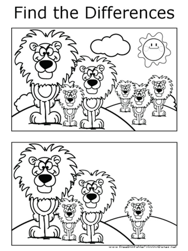 coloring page Look for the difference: Lion